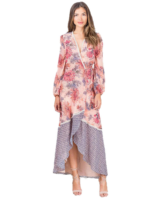 HOPE & IVY FLORAL CONTRAST WRAP MAXI DRESS