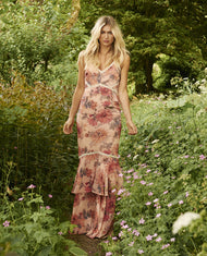 HIRE HOPE & IVY FLORAL PRINT RUFFLE MAXI DRESS