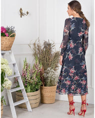 HIRE HOPE & IVY NAVY FLORAL LONG SLEEVED MIDI DRESS 3