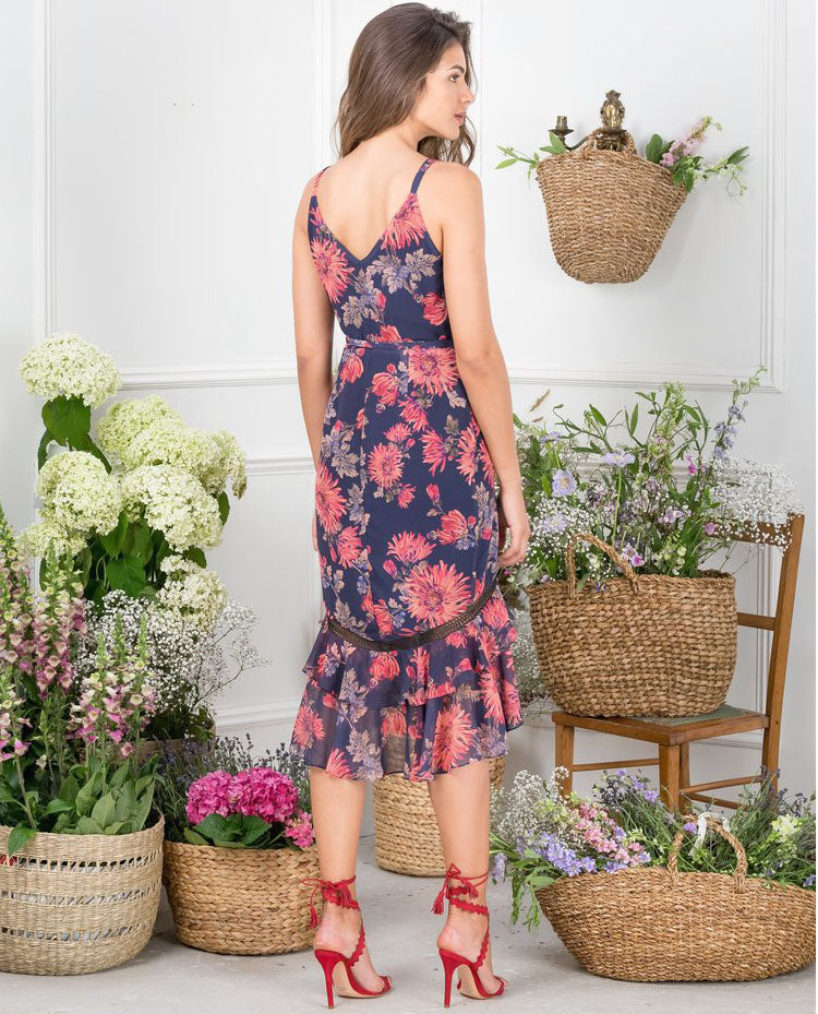 HIRE HOPE & IVY NAVY FLORAL WRAP MIDI