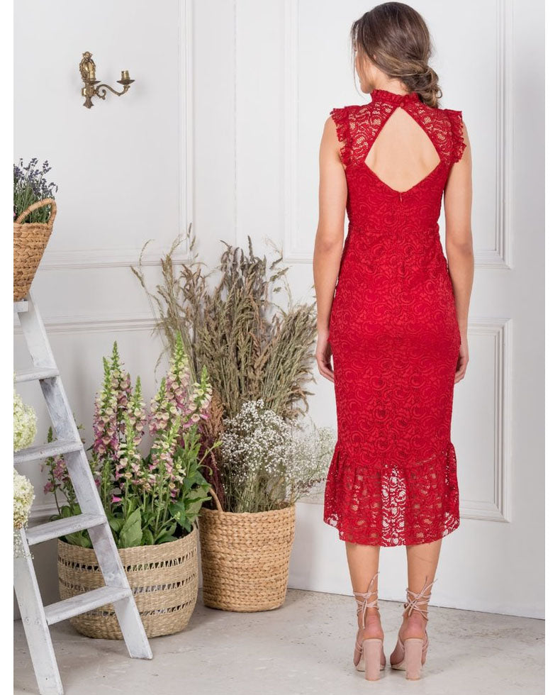 HIRE HOPE & IVY RED RUFFLE LACE MIDI DRESS 3