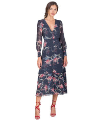 HOPE & IVY NAVY FLORAL LONG SLEEVED MIDI DRESS