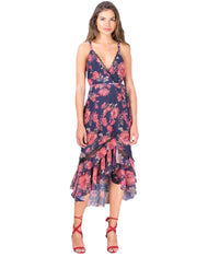 HOPE & IVY NAVY FLORAL WRAP MIDI DRESS