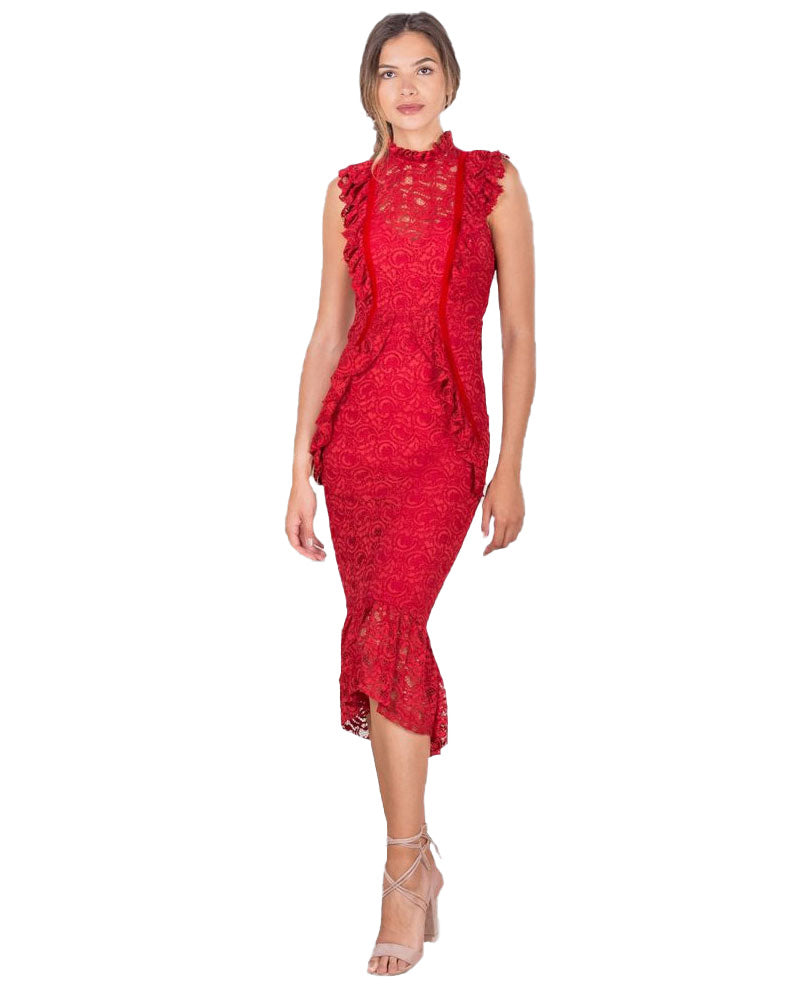 HOPE & IVY RED RUFFLE LACE MIDI DRESS