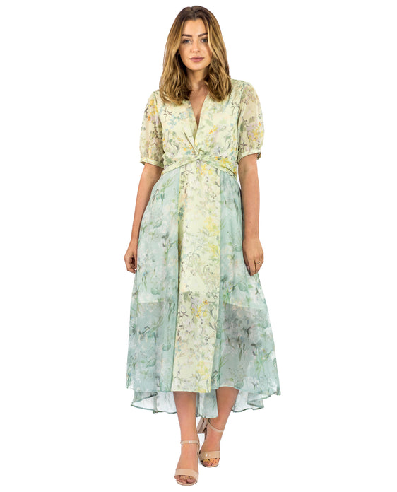 HOPE & IVY FLORAL MIDI WITH THIGH SPLITS