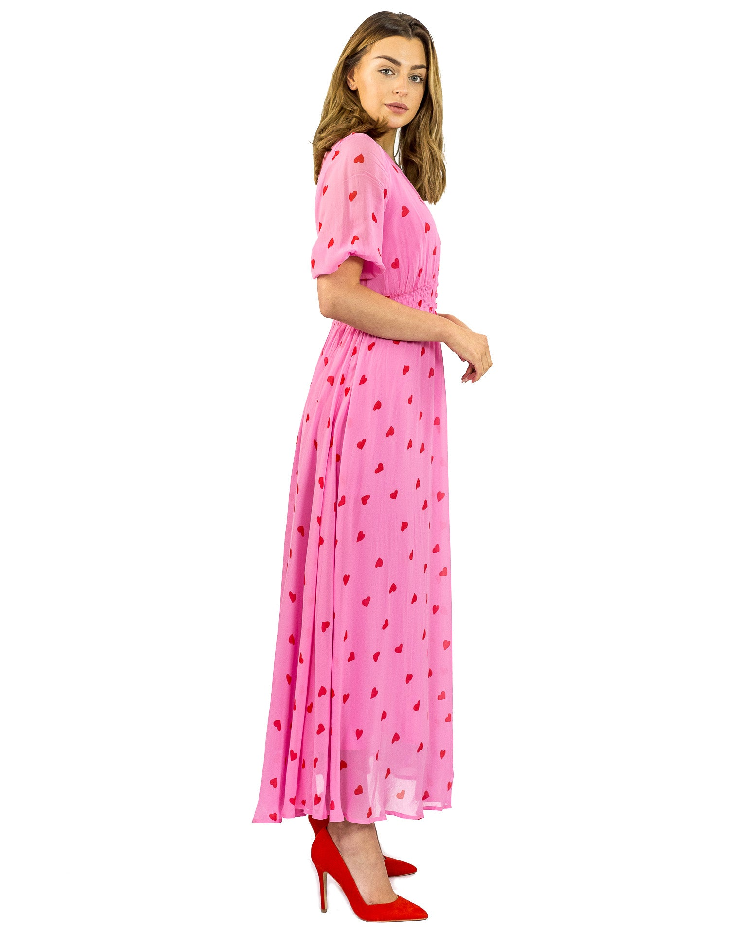 GHOST VALENTINA SWEETIE PINK MAXI DRESS