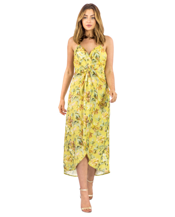 HOPE & IVY YELLOW TWIST FRONT FLORAL CAMI DRESS