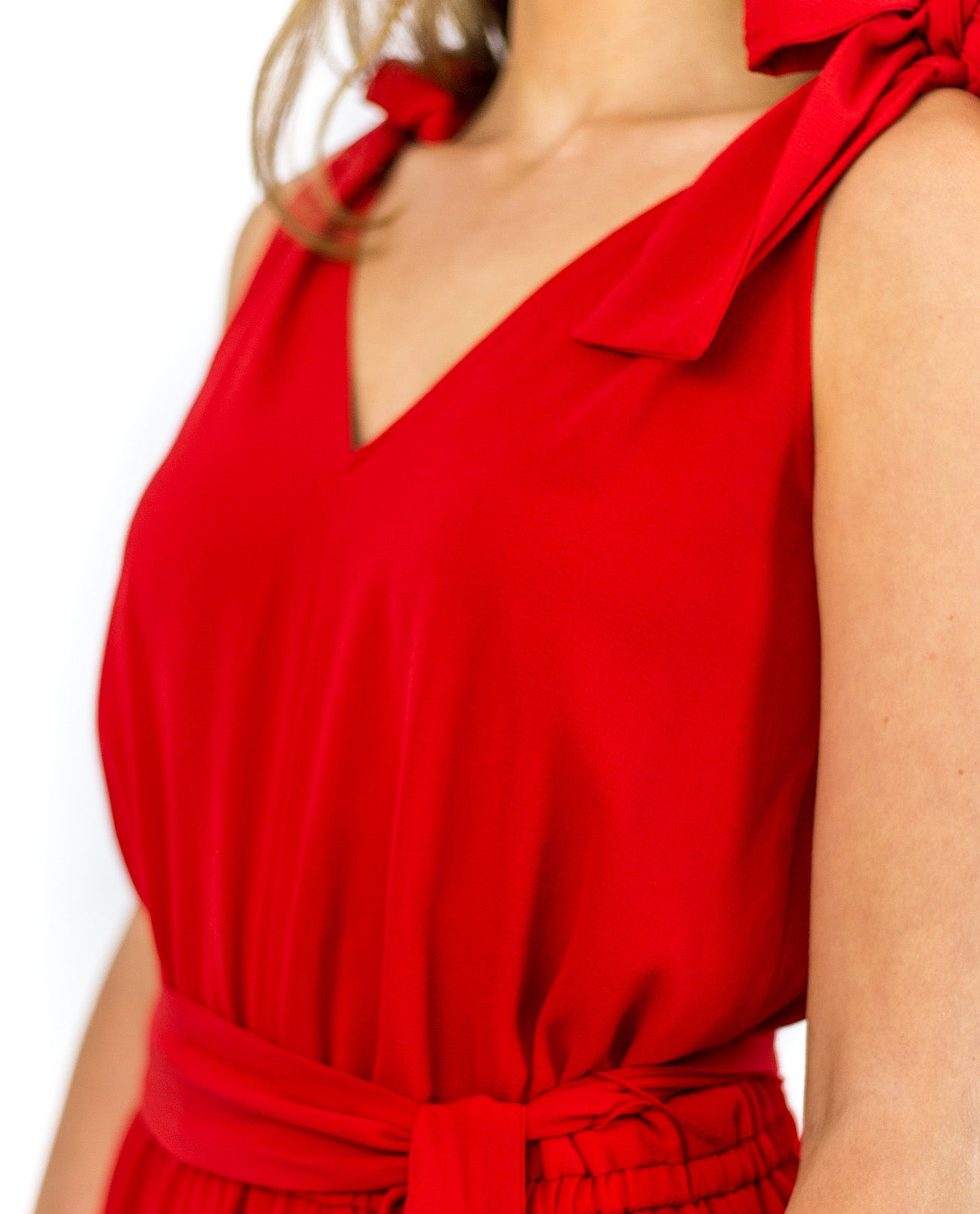 MICHAEL KORS RED JUMPSUIT WITH BOW DETAIL