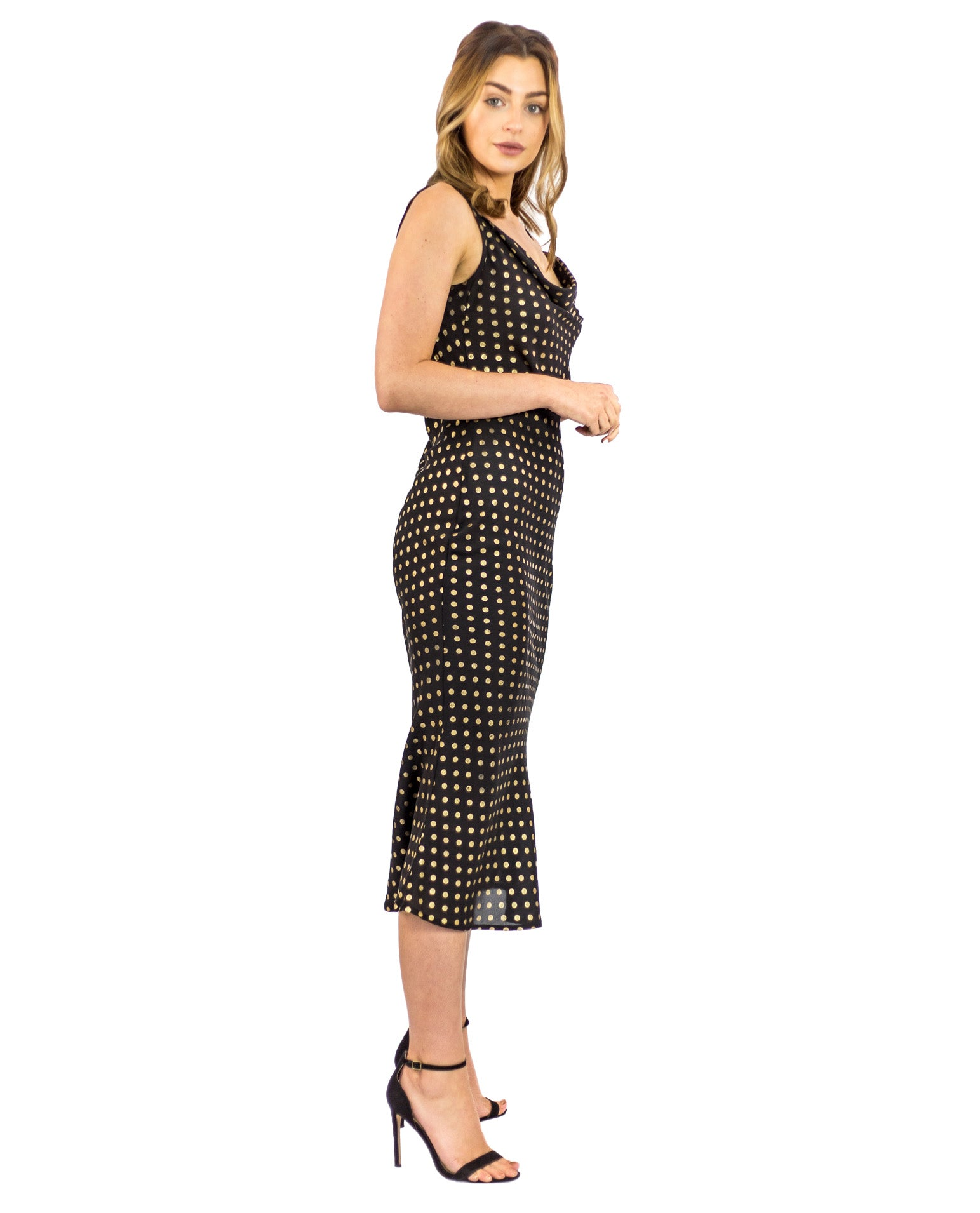 PRETTY LAVISH METALLIC SPOT SATIN MIDI DRESS