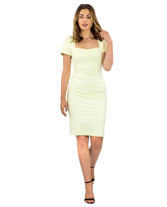 FRENCH CONNECTION STRETCH FITTED LEMON MIDI DRESS