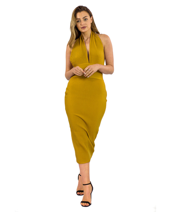 MUSTARD BODYCON HALTERNECK MIDI DRESS