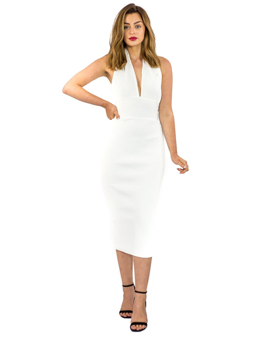 WHITE BODYCON HALTERNECK MIDI DRESS