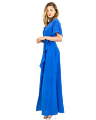 WHISTLES ELECTRIC BLUE FRILL WRAP MAXI DRESS