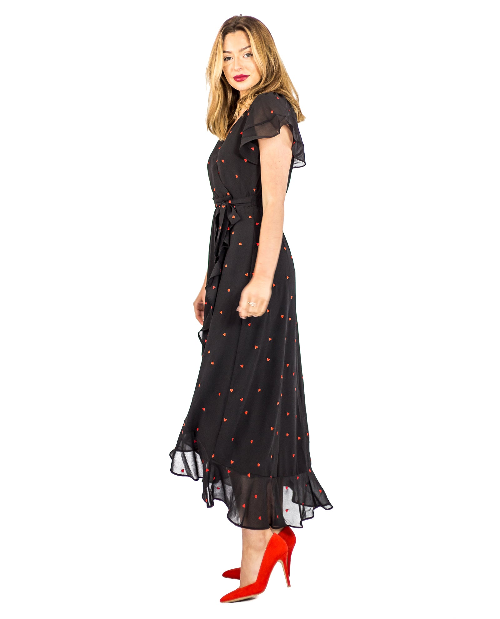 WHISTLES HEART EMBROIDERED BLACK MAXI WRAP DRESS