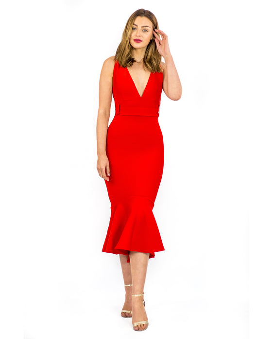 RED BODYCON V-NECKLINE AND BOW DETAIL