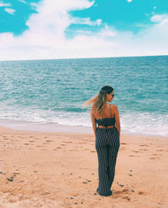 NAVY & WHITE STRIPED JUMPSUIT