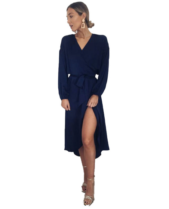 PRETTY LAVISH NAVY WRAP MIDI DRESS