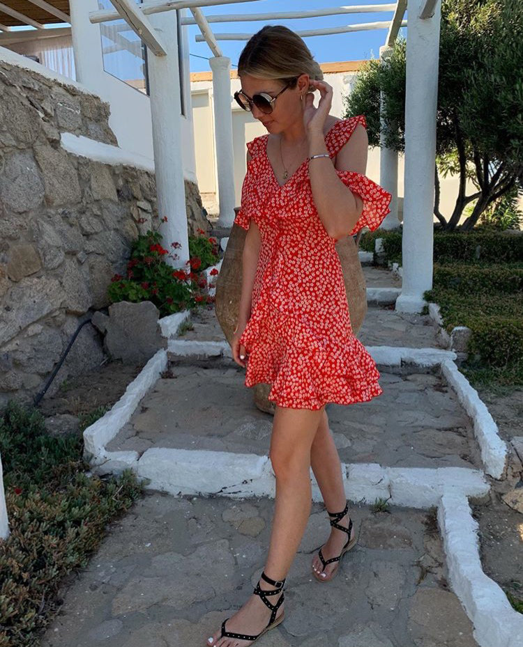 RED COLD SHOULDER SUMMER DRESS