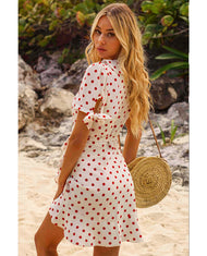 SEVEN WONDERS WHITE POLKA DOT MINI WRAP DRESS