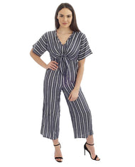 KNOT FRONT STRIPED JUMPSUIT