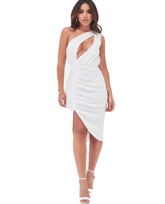 LAVISH ALICE ONE SHOULDER CUT OUT RUCHED SIDE MIDI DRESS IN WHITE