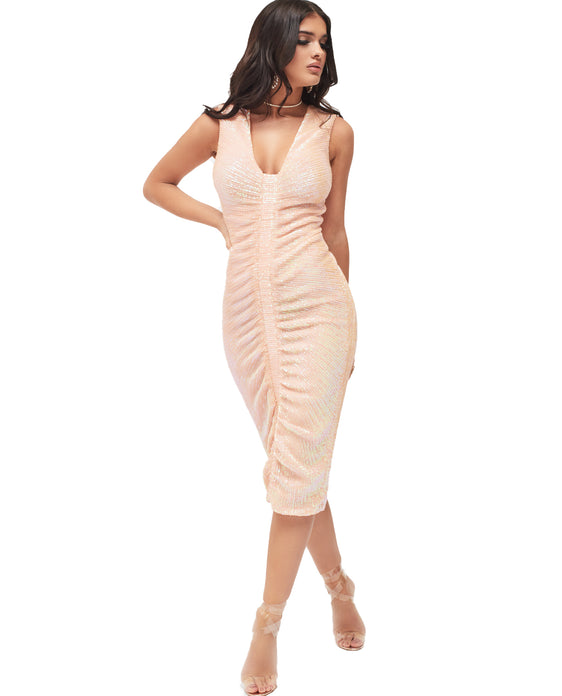 LAVISH ALICE SLEEVELESS RUCHED SEQUIN MIDI DRESS IN NUDE PINK
