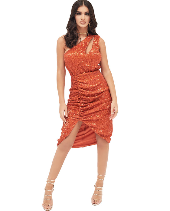LAVISH ALICE PLEATED SEQUIN ONE SHOULDER CUT OUT RUCHED SIDE MIDI DRESS IN ORANGE