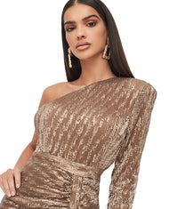 LAVISH ALICE ONE SLEEVE SEQUIN MINI DRESS IN GOLD