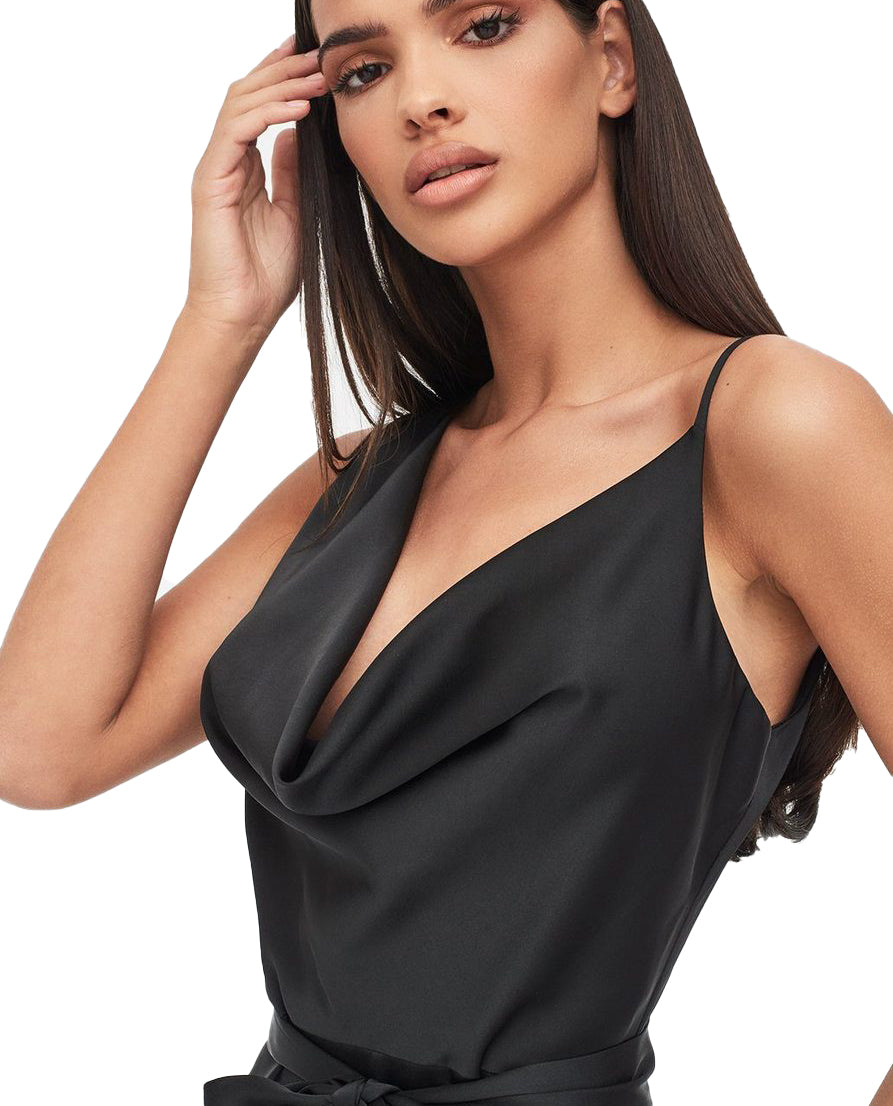 LAVISH ALICE SATIN COWL NECK MIDI DRESS IN BLACK
