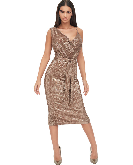 LAVISH ALICE PLEATED SEQUIN COWL NECK MIDI DRESS IN GOLD