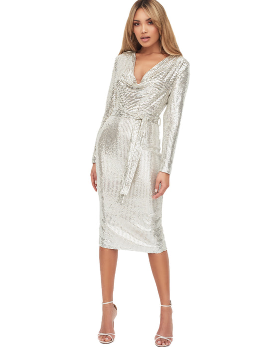 LAVISH ALICE STRETCH SEQUIN COWL NECK MIDI DRESS IN SILVER