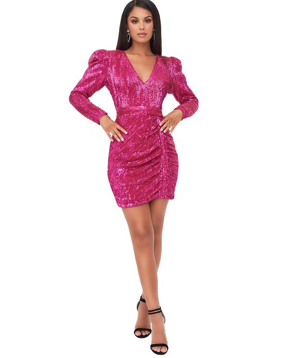 LAVISH ALICE PUFF SHOULDER PLEATED SEQUIN MINI DRESS IN PINK