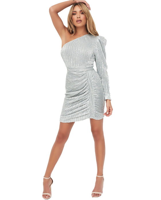 LAVISH ALICE STRUCTURED ONE SHOULDER SEQUIN MINI DRESS IN SILVER