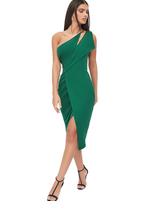 LAVISH ALICE ONE SHOULDER CUTOUT MIDI WRAP DRESS IN EMERALD GREEN