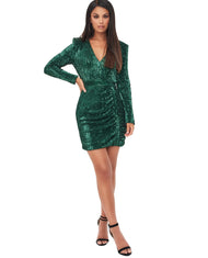 LAVISH ALICE PLEATED SEQUIN EMERALD MINI DRESS