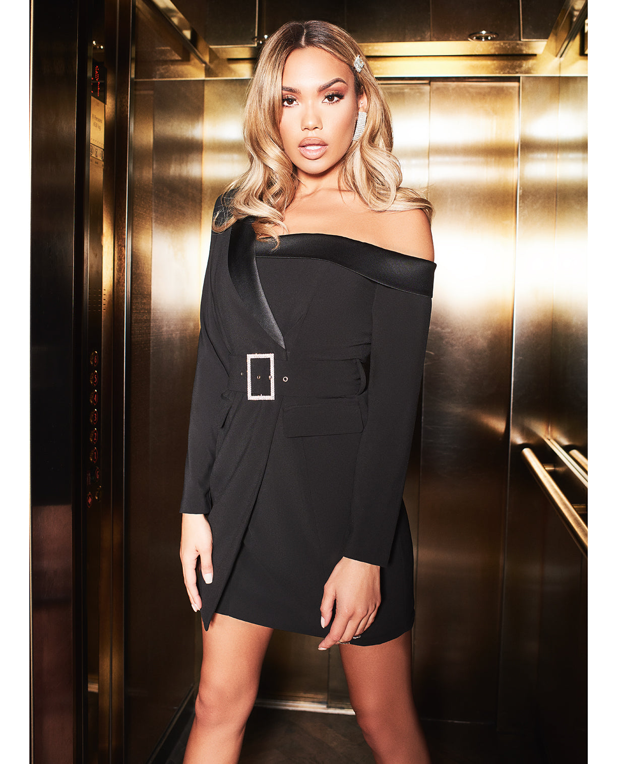 LAVISH ALICE OFF THE SHOULDER TUXEDO MINI DRESS