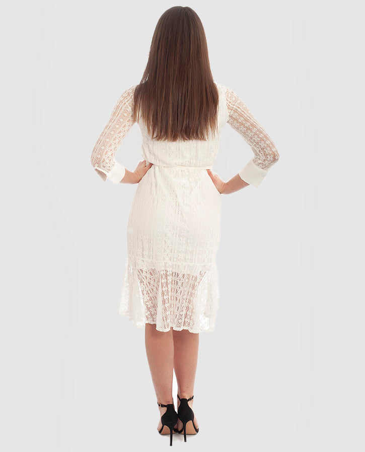 LONG SLEEVED WHITE LACE MIDI DRESS
