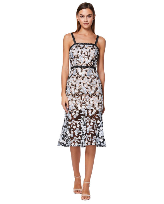 JARLO BETTE ALL OVER LACE MIDI DRESS WITH SHOULDER STRAPS