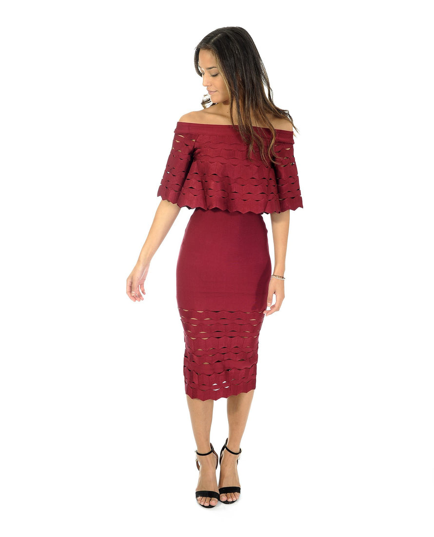MAROON BANDEAU MIDI DRESS WITH CUT OUT DETAIL_AAA0334
