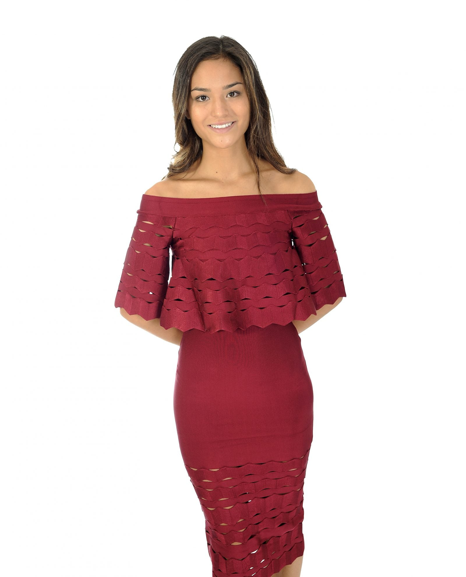 MAROON BANDEAU MIDI DRESS WITH CUT OUT DETAIL_AAA0340