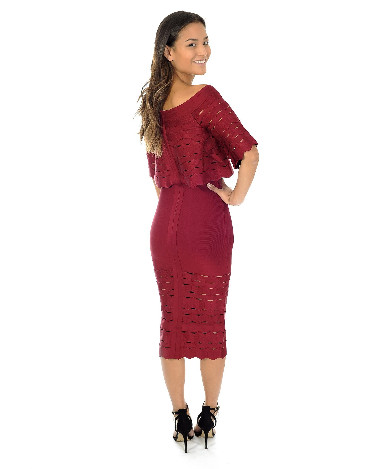 MAROON BANDEAU MIDI DRESS WITH CUT OUT DETAIL_AAA0342
