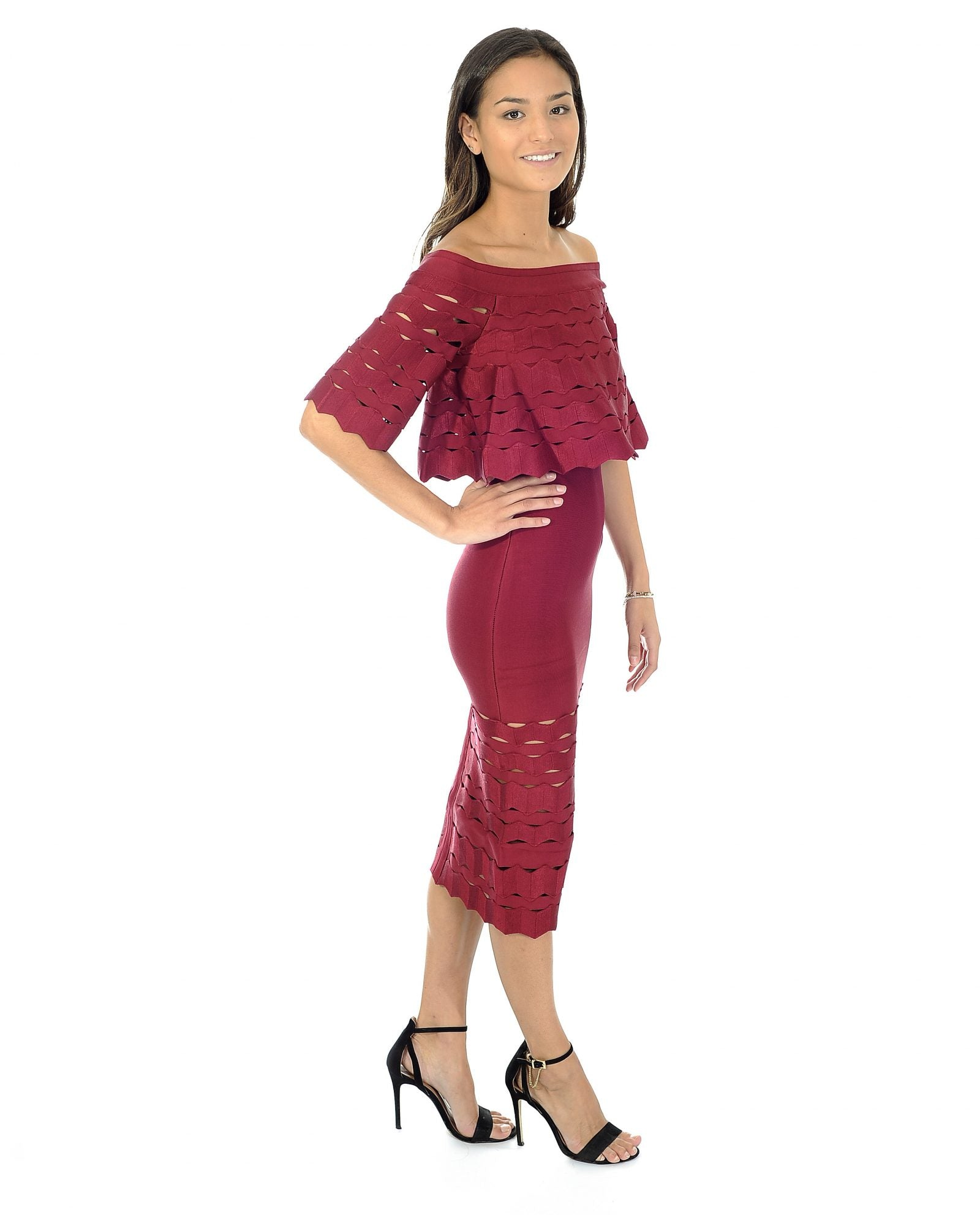 MAROON BANDEAU MIDI DRESS WITH CUT OUT DETAIL_AAA0344