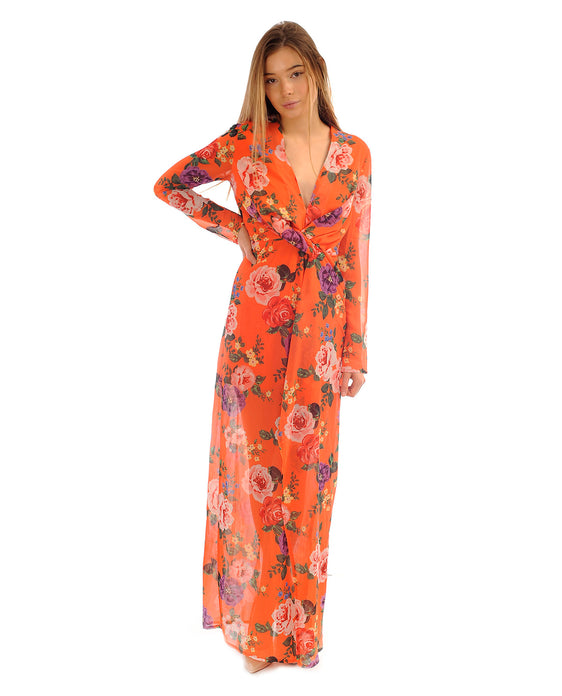 MISSGUIDED ORANGE FLORAL MAXI DRESS