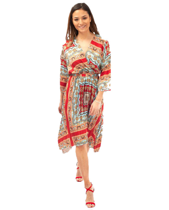 MIXED PRINT PLEATED MIDI DRESS