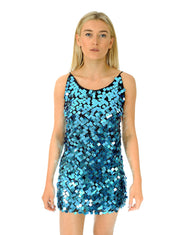 Hire Motel Square Sequin Blue Mini Dress | Hirestreetuk.com