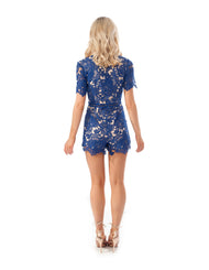 Rental dress | Missguided blue ladder detail lace dress| Hirestreetuk.com