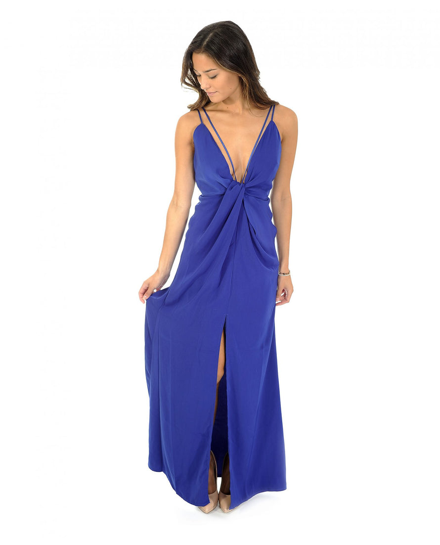 Missguided Peace & Love Blue Twist Front Maxi