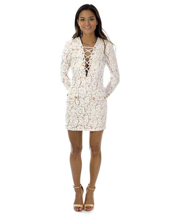 46023e85dfb MISSGUIDED PEACE   LOVE WHITE LACE UP FRONT DRESS