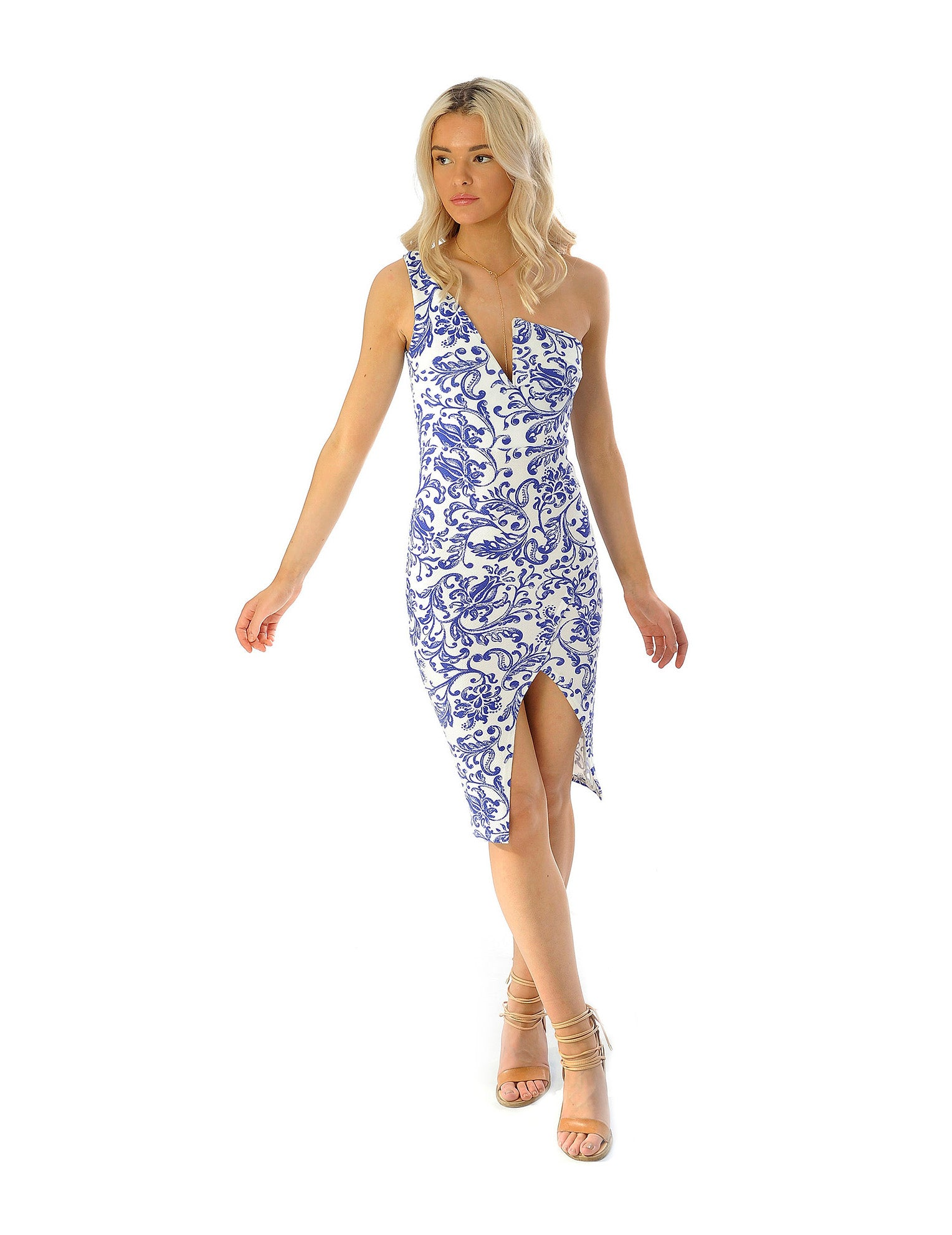 Rental dress | Missguided white & blue bodycon floral dress | Hirestreetuk.com