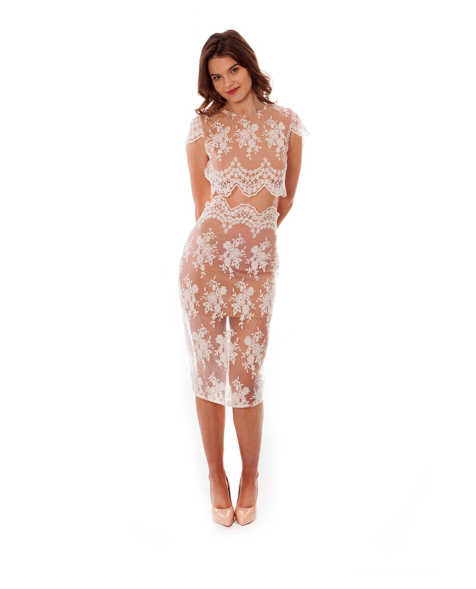 Rent a dress | Missguided white mesh and lace co-ord Hirestreetuk.com